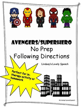 Avengers No-Prep Following Directions Activity/Homework