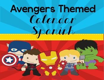 Superhero Avengers Themed Calendar- Spanish Version