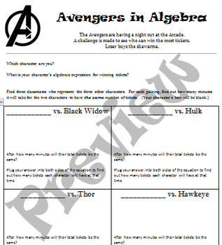 Avengers in Algebra - Solving Story Problems