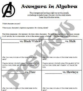Avengers in Algebra - Solving Story Problems