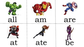 Avengers sight words 1st-3rd grades
