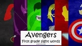 Avengers super hero first grade sight words