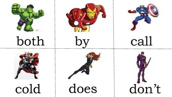 Avengers super hero second grade sight words