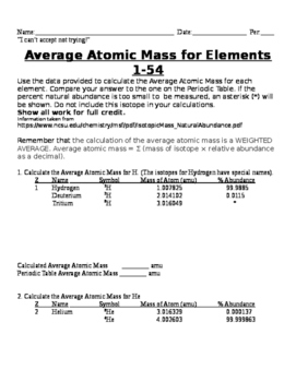 Average Atomic Mass Practice By Vegas Snow Teachers Pay Teachers