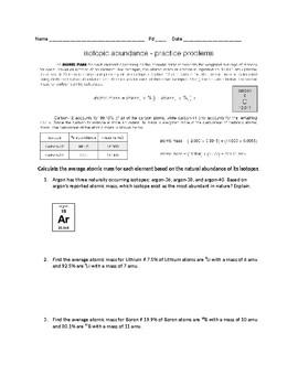 Average Atomic Mass Worksheet Worksheet List