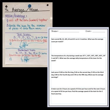 Average Mean Unit - Anchor Charts, Notes, Scaffolding, Word Problems