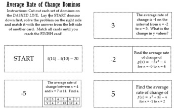 Average Rate of Change Dominos
