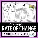 Average Rate of Change Math Lib Activity
