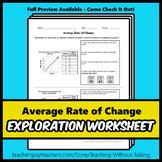Average Rate of Change Worksheet