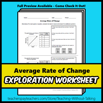 Average Rate of Change Worksheet
