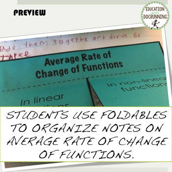 Average Rate of Change of Functions PreCalculus Interactive Notebook Notes