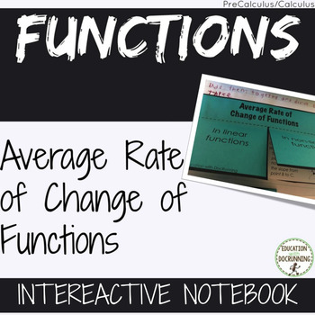 Average Rate of Change of Functions Notes for PreCalculus Curriculum