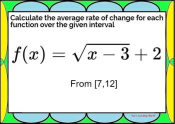 Average Rate of Change of Non-Linear Functions: Google Forms Quiz- 20 Problems