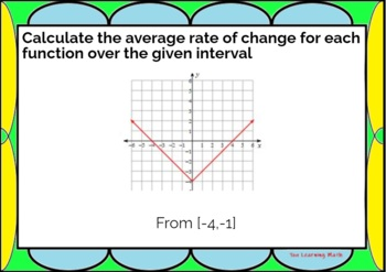 Average Rate of Change of Non-Linear Functions - Task Cards: 20 Problems