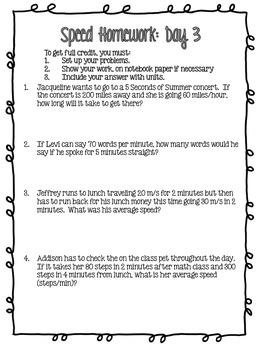 Average Speed: A Week's Worth of Homework