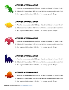 Average Speed Practice Problems for 5 groups