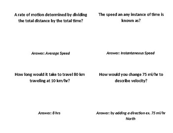 Average Speed and Distance Time Graph Flash Cards