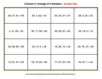 Average of 3 Numbers - Connect 4 Game