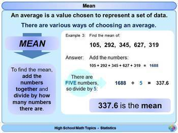 Averages for High School Math