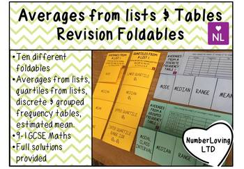 Averages from Lists & Tables Revision Foldable