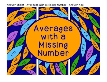 Averages with a Missing Number Computation Practice Algebra