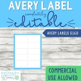 Avery Label 5160 PowerPoint blank Template - Editable