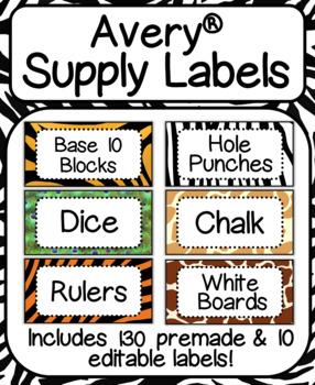 "Avery Safari Supply Labels-Includes Premade & Editable!: Label #8163 (2"" x 4"")"