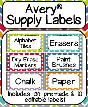 "Avery Supply Labels- Includes Premade & Editable!: Fits Label #8163 (2""x 4"")"