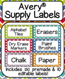 Avery Supply Labels- Includes Premade & Editable!: Fits La