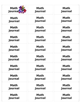 Avery label for Math Journal