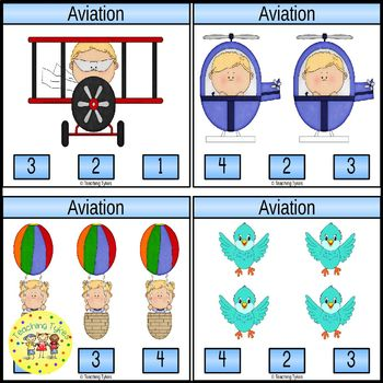 Aviation Count and Clip Task Cards