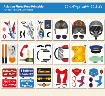 Aviation Themed Photo Booth Prop - 44 ready to print images