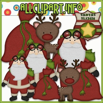 BUNDLED SET - Aviator Santa 1 Clip Art & Digital Stamp Bundle