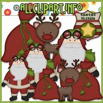 BUNDLED SET - Aviator Santa 1 Clip Art & Digital Stamp Bundle