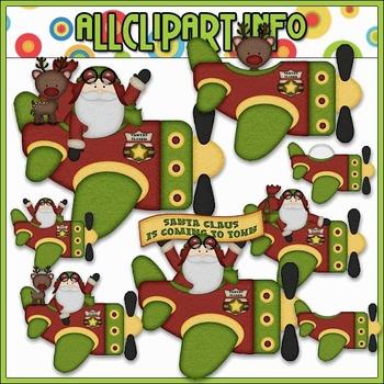 BUNDLED SET - Aviator Santa 2 Clip Art & Digital Stamp Bundle