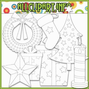 BUNDLED SET - Aviator Santa Accents Clip Art & Digital Stamp Bundle