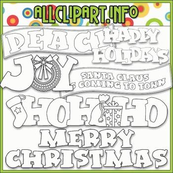 BUNDLED SET - Aviator Santa Word Art Clip Art & Digital Stamp Bundle