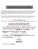 Aviso de Conferencia/Conference Reminder (Bilingual Spanis