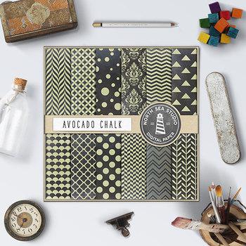 Avocado Chalkboard Digital Papers {Pretty Graphics}