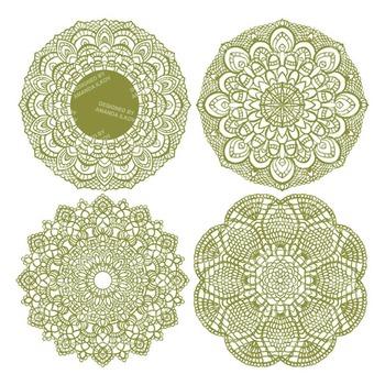 Avocado Round Lace Doilies - Lace Doily, Vintage Doilies