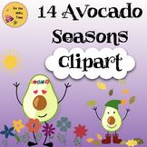 Avocado Seasons Clipart- for TpT Sellers and Fun Classroom Decoration!