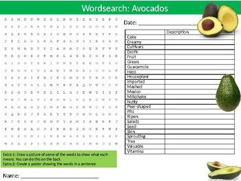 Avocados Wordsearch Puzzle Sheet Keywords Food Science Fruit Nutrition