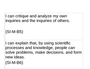 Science I Can Statements-Louisiana grade five GLEs