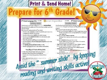 Avoid Summer Slide! {Reading & Writing 5th-6th Note Home}