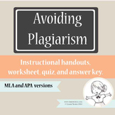 Plagiarism Handouts, Worksheet and Quiz