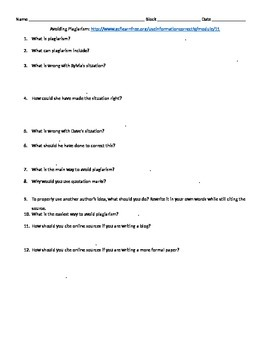 Avoiding Plagiarism Worksheet