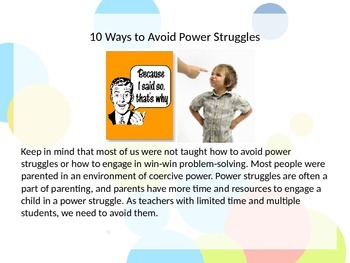 Avoiding Power Struggles and De-escalating Situations