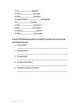 Avoir Conjugation Worksheet