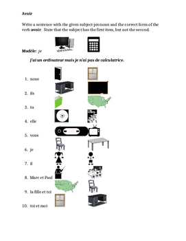 Avoir French verb worksheet 3