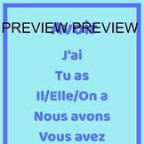 Avoir Present Tense Poster - French Verb Poster
